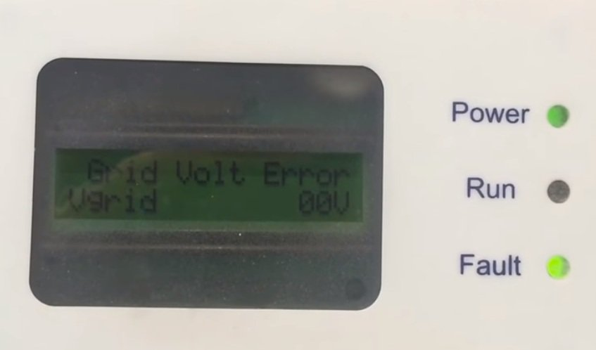 Example of an error code on a solar inverter