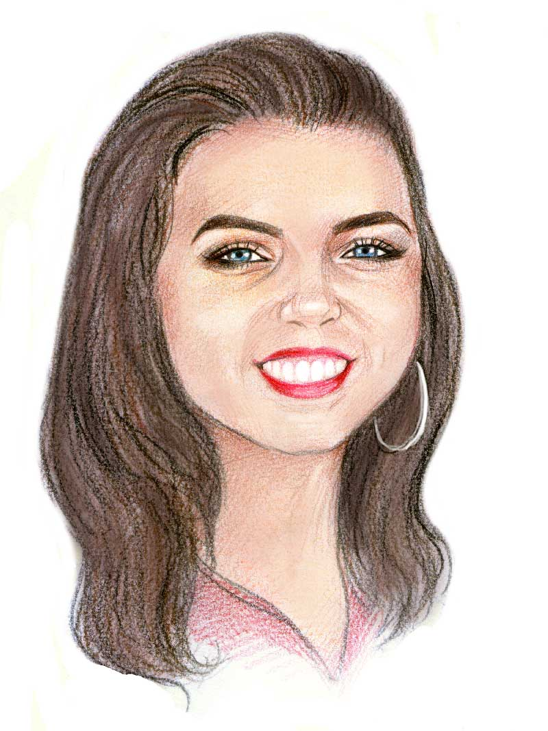caricature of Bree Jago of Solar Storage Solutions Townsville