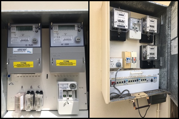 3 Phase Switchbaord old analogue and new digital meters example.